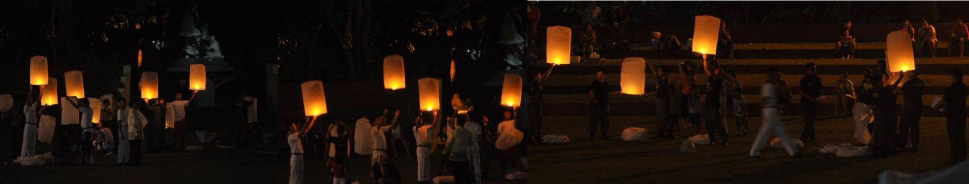 100 giant sky lanterns to be launched from the ampitheater