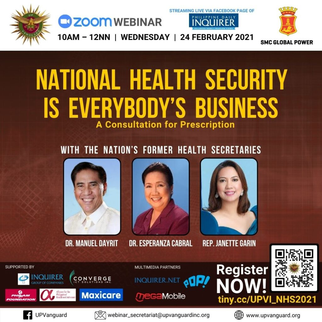 The UP Vanguard pilots forum on Nat'l Health Security with PH's 3 former DOH Heads on 24 Feb